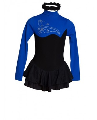 Black and Royal Blue Polar Skating Dress for Girls