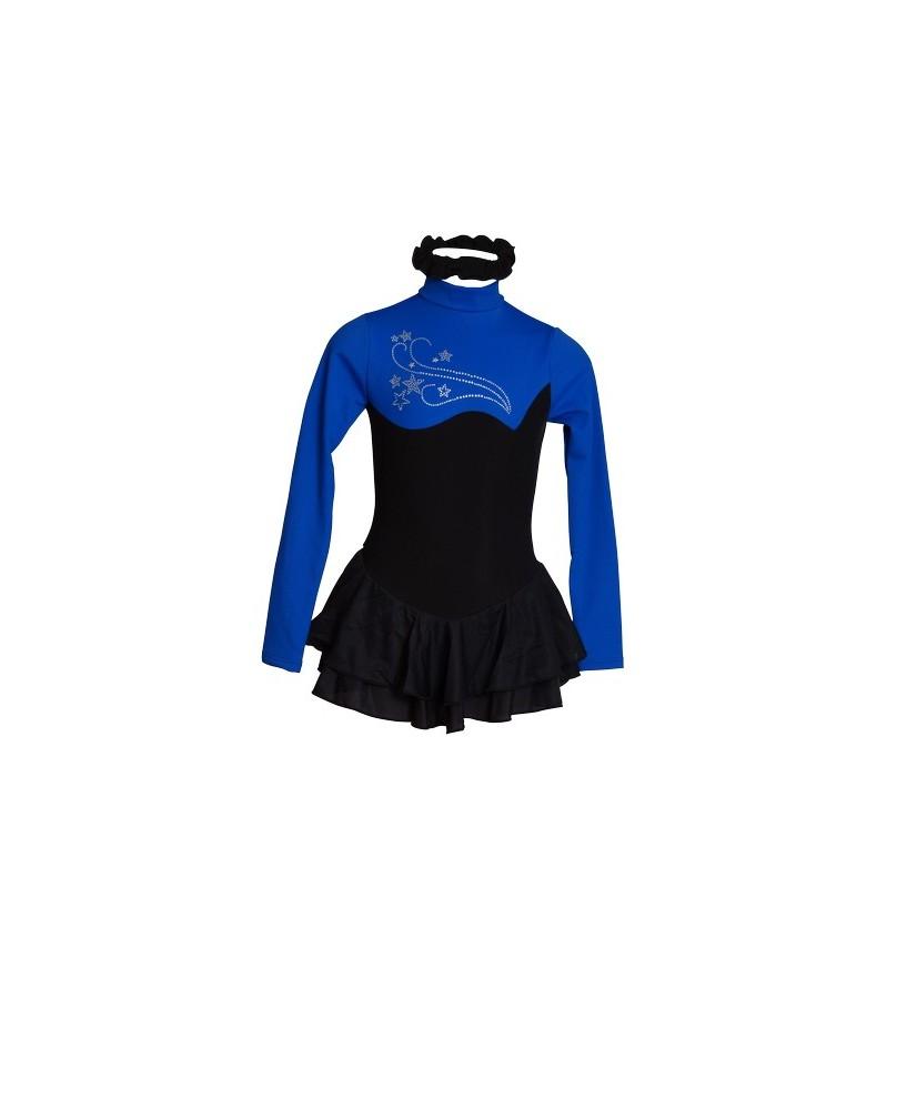 Tunique Justaucorps de Patinage Polaire Noir et Bleu