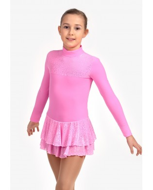 Tunique Justaucorps de Patinage Polaire strassée Rose Fluo