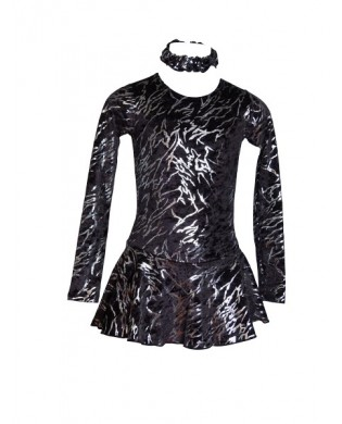 Black and silver figure skating dress for girls