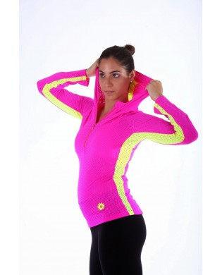Sweat Shirt Running Femme Rose Jaune