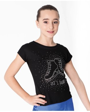 Girl skating T-Shirt with rhinestone