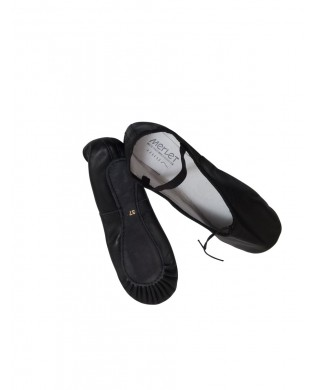 Black Leather Ballet Slipper ECLAT