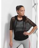 Women's Mesh t-shirt with hoodie black