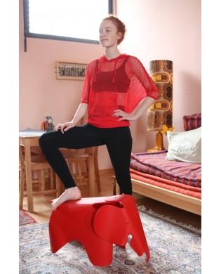 T-shirt Maille à Capuche Rouge