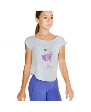 Mädchen Tanz T-Shirt von Bloch mit Ballerina Grau