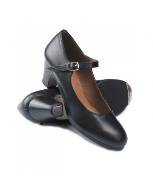 Chaussures Flamenco Cuir Noir avec clou