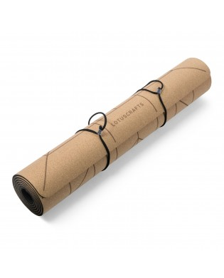 Cork yoga mat with lines