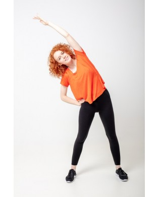 Black sport elastane cotton Leggings