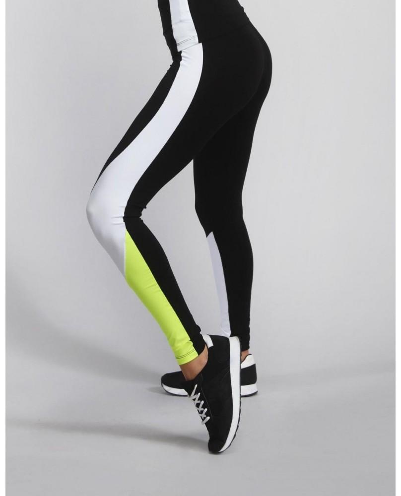 Leggings Femme Active noir et jaune