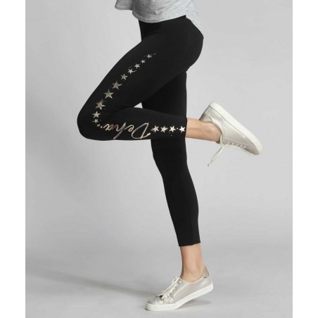 Black Leggings with Gold Stars