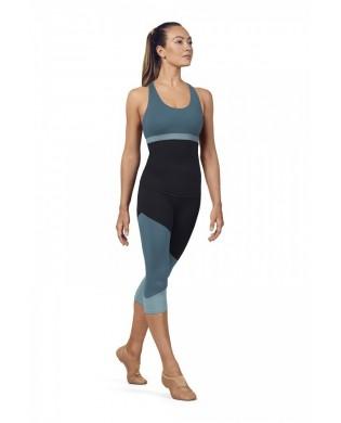 Leggings Sport femme 3/4 Tri Colore Bleu