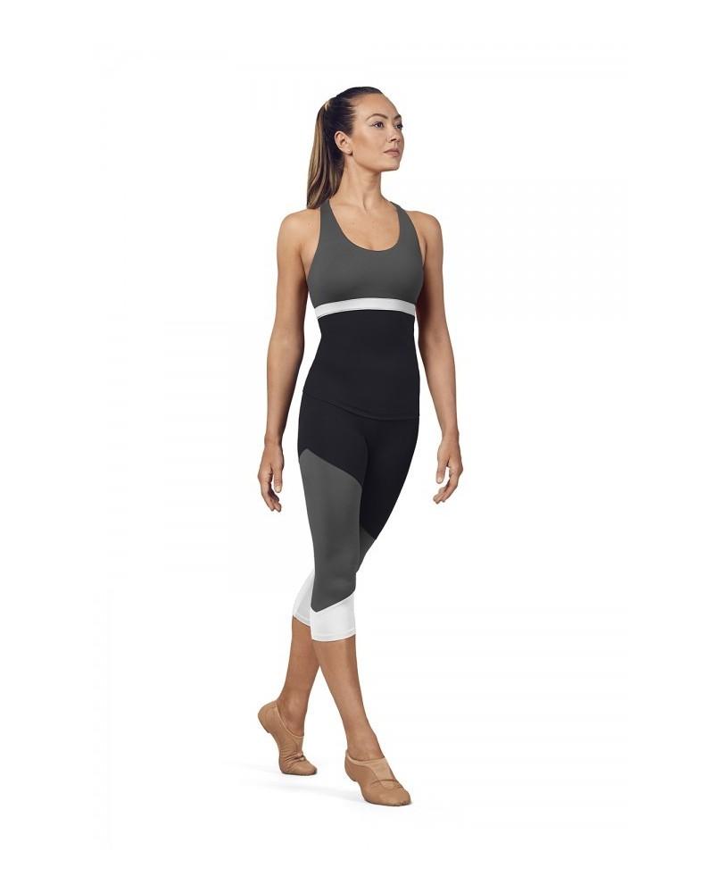 Leggings Sport femme 3/4 Tri Colore Noir