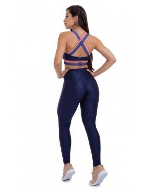 Leggings Sport Femme Elastic Bleu Marine
