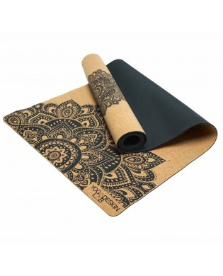 Tapis de Yoga Caoutchouc Liège Motif Mandala Noir
