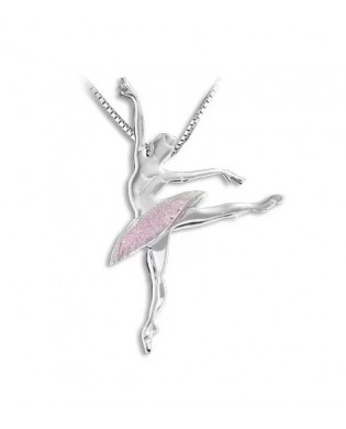 Pendentif collier Ballerine Rose