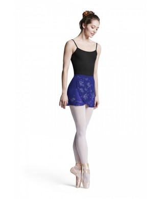 Blue ballet skirt with floral print