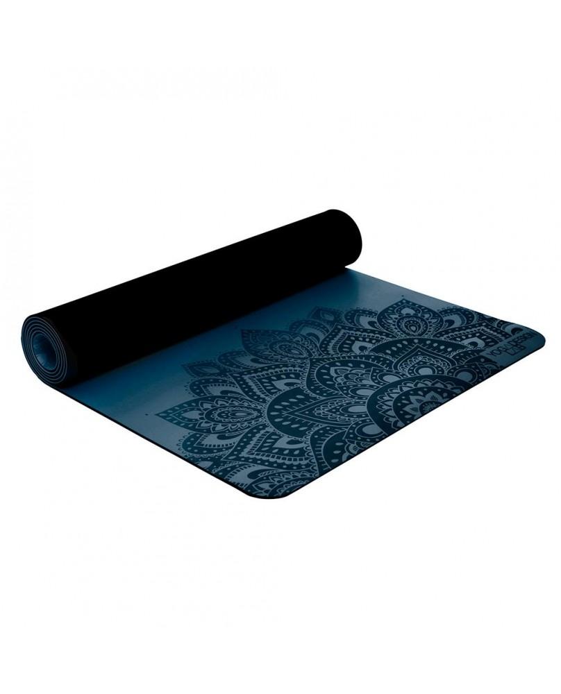 Tapis de yoga 5 mm en caoutchouc Infinity avec motif Mandala coloris Teal, bleu marine