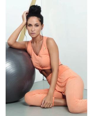 Damen Yoga Crop Top orange oder rosa