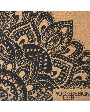 Tapis de Voyage Yoga 1.5 mm Liège et Caoutchouc design mandala noir