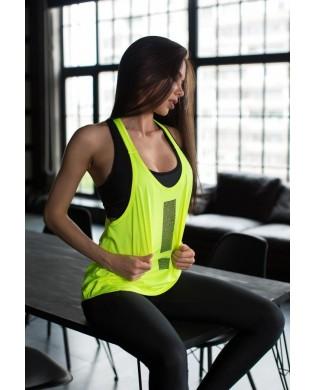 Débardeur Sport jaune fluo pour femme à porter sur une brassière