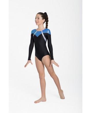 Gymnastics leotard with long sleeves 31535 Intermezzo black and blue