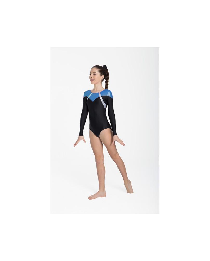 Turntrikot mit langen Ärmeln für Mädchen oder Damen 31535 Intermezzo Schwarz und Blau
