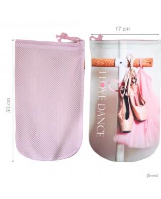 Tanzspitzentasche mit Fotodruck von rosa Tutu und Spitzenschuhen