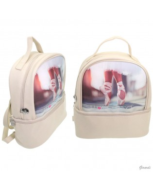 Beige dance bag 30x27 cm with dance pointe shoes pattern