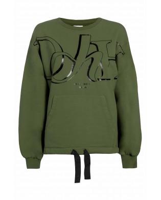 Sweatshirt femme sport ample Kaki DEHA B5453