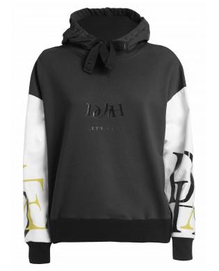 Damen Sport Sweatshirt mit Kapuze Zweifarbig schwarz und weiss
