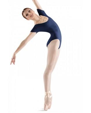 Women's dance leotard in cotton small sleeves navy blue