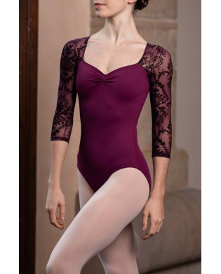 Woman ballet leotard with 3/4 sleeves in Burgundy