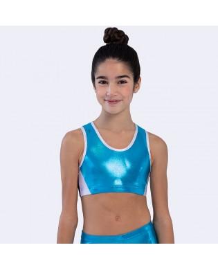 Gymnastik-BH für Mädchen blau und silver
