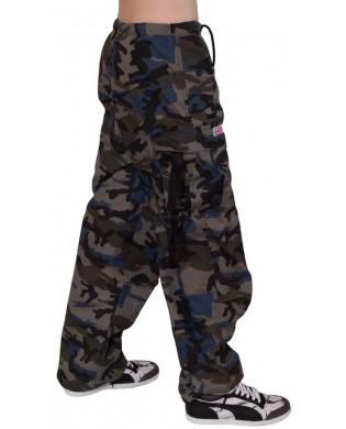 Pantalon hip hop enfant camouflage bleu gris
