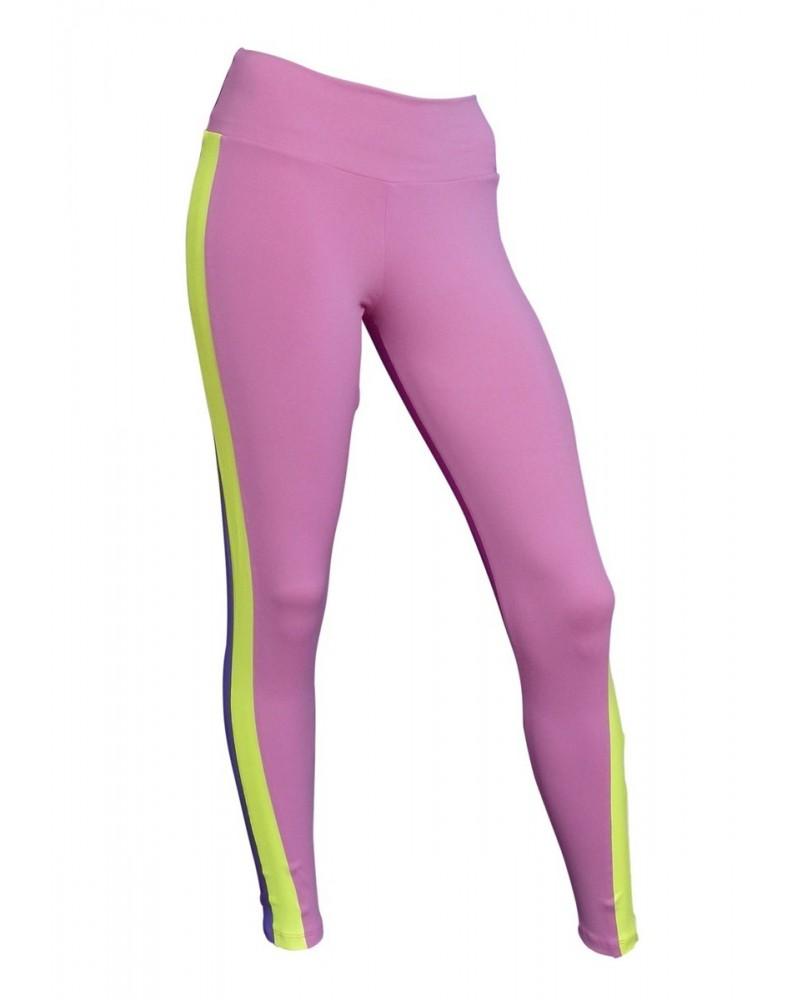 Leggings Fitness & Running Femme Rayé Rose