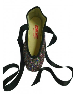 Multicolored Glitter Pointe Shoes