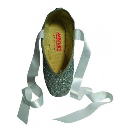 Silver Glitter Pointe Shoes